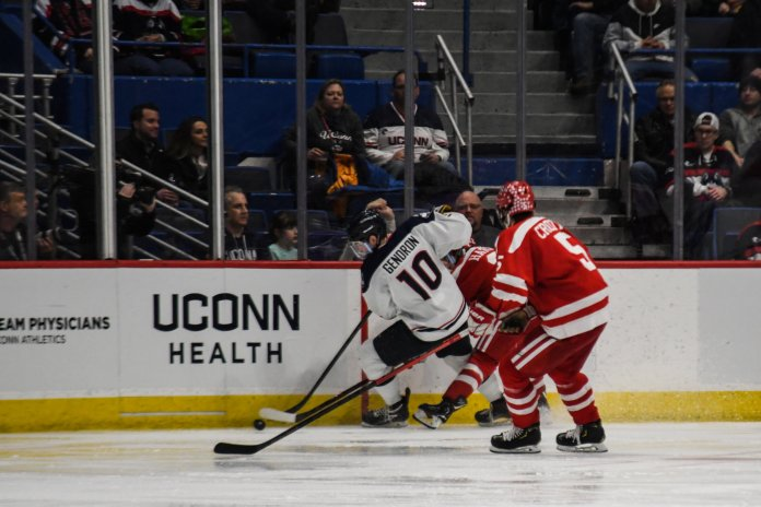 Captain Miles Gendron was a huge leader for the 2018-19 UConn men's hockey team, often leading both vocally and by providing a good example for a team full of freshman (Photo by Kevin Lindstrom/The Daily Campus)