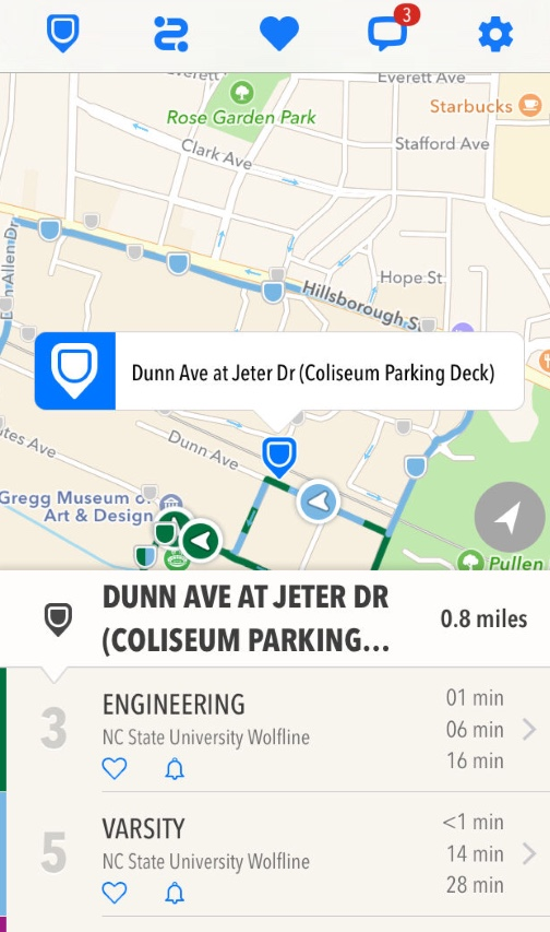 """""""Transloc Rider"""" is an application that tracks bus routes. (screenshot)"""