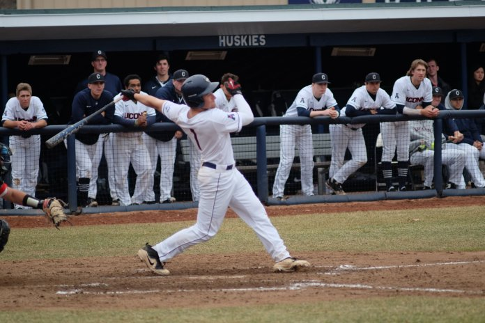 UConn baseball faced off against Hartford J.O. Christan Field on Thursday, Mar. 29. The Huskies took a dominating lead and won 9-1. (Photo by Jon Sammis/The Daily Campus)