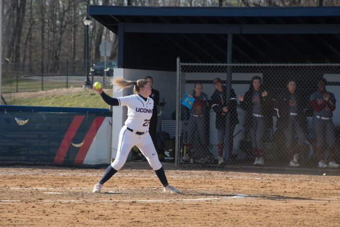 UConn Women's Softball played against University of Massachusetts with a final score of 3-13, resulting in a 13-19 overall score this season (Photo by Avery Bikerman/ The Daily Campus)