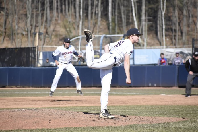 After a tough start to the season, Colby Dunlop has improved drastically and is a versatile weapon for UConn  (Photo by Brandon Barzola/The Daily Campus)