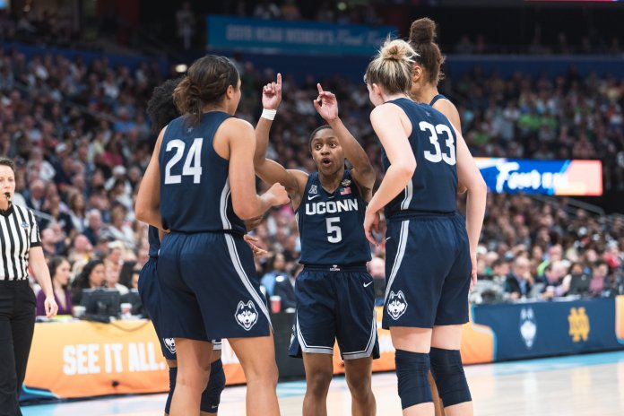 Several UConn players, including Crystal Dangerfield, said Katie Lou Samuelson and Napheesa Collier were not just great players, but even better people. Photo by Charlotte Lao/The Daily Campus
