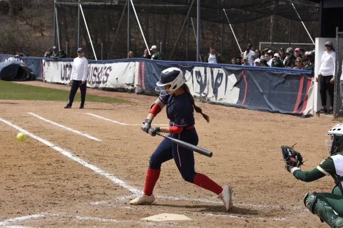 UConn Softball plays against the University of South Florida resulting in a loss of 0-1. This leaves the team at 16-27 in the season. (Brandon Barzola/The Daily Campus)