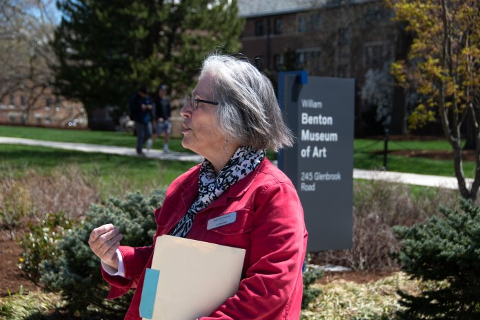 The Benton Museum hosts a Art in Small Bites, a campus walk with docents, to learn about the architectural influences on the university, and LEED certification in Laurel Hall. (Avery Bikerman/The Daily Campus)