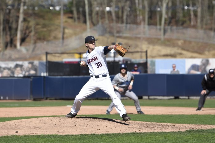 The UConn Baseball team secures a 2-1 win against the University of Rhode Island. This leaves them at 25-16 in the season. (Photo by Brandon Barzola/The Daily Campus)