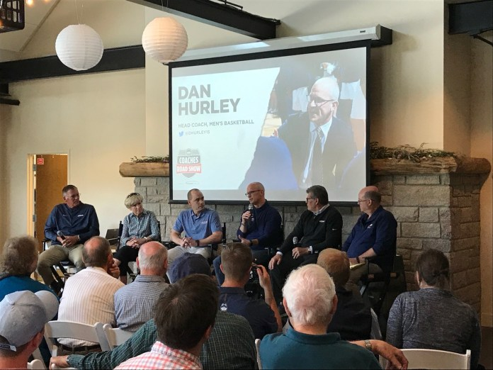 Head coach Dan Hurley speaks at the UConn Coaches Road Show in Mystic on Tuesday.  Image by author .