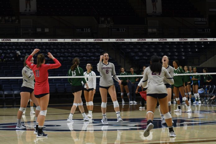 The UConn women's volleyball team celebrates their win. The team won a series of difficult games against Holy Cross, Dartmouth and Providence College.  Photos by Sofia Sawchuk / The Daily Campus.