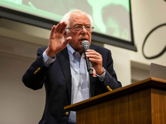 Presidential candidate U.S. Sen. Bernie Sanders, I-Vt., speaks during a rally at the Chicago Teachers Union headquarters, Tuesday, Sept. 24, 2019, in Chicago.   Photo by Ashlee Rezin Garcia/Chicago Sun-Times via AP