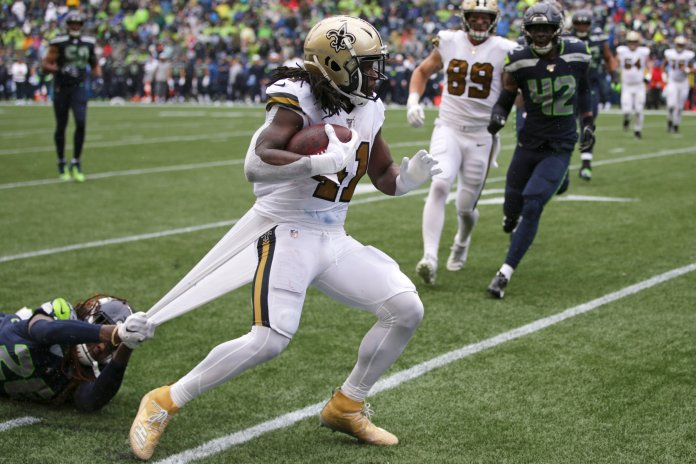 Alvin Kamara has racked up 250 yards from scrimmage and two touchdowns in the Saints' games without Brees. He and Michael Thomas have been vital to the team's success so far.  Photo from The Associated Press.