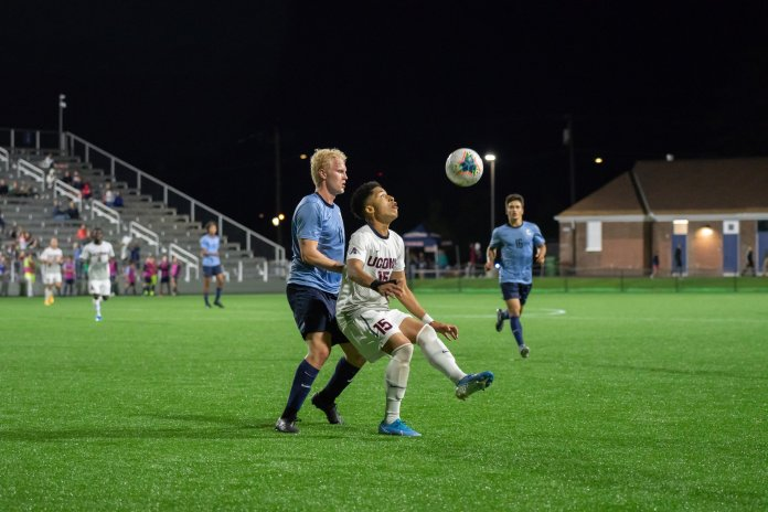UConn men's soccer has gotten off to a rough start to the season sitting at just 3-5 halfway through the season. Their next matchup is set for Tuesday against Dartmouth.  Photo by Kevin Lindstorm / The Daily Campus.