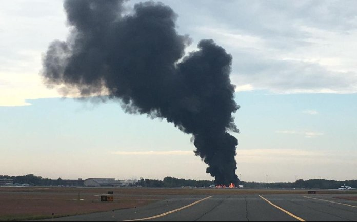 The plane crashed at Bradley International Airport early this morning.  Photo courtesy of    WFSB