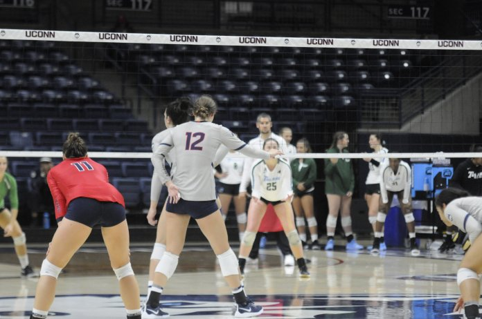 On Oct. 6, 2019, the Women's Volleyball Team played against Tulane University. The girls played with all their skill and power, but after three vigorous sets, the Huskies took the loss 0-3.  Photo by Tulsi Patel/The Daily Campus.