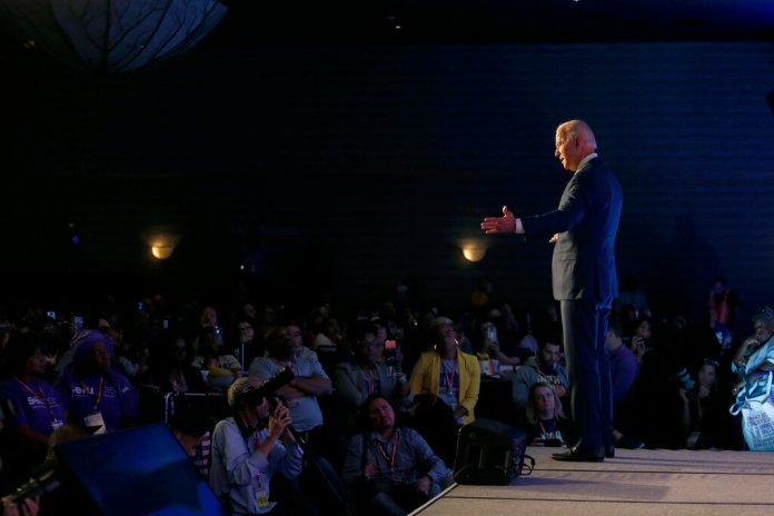 Former Vice President and Democratic presidential candidate Joe Biden speaks at the SEIU Unions For All Summit on Friday, Oct. 4, 2019.  Photo by Ringo H.W. Chiu/AP