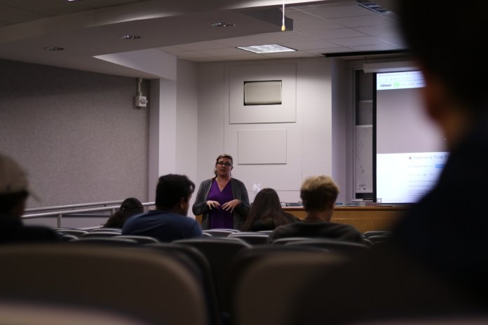 Dawnland, a documentary about Native American cultural survival and stolen children is screened in Gentry Hall on October 16, 2019. A discussion followed the film to continue Native American Cultural Programs' events for Indigenous Peoples Week.  Photo by Judah Shingleton
