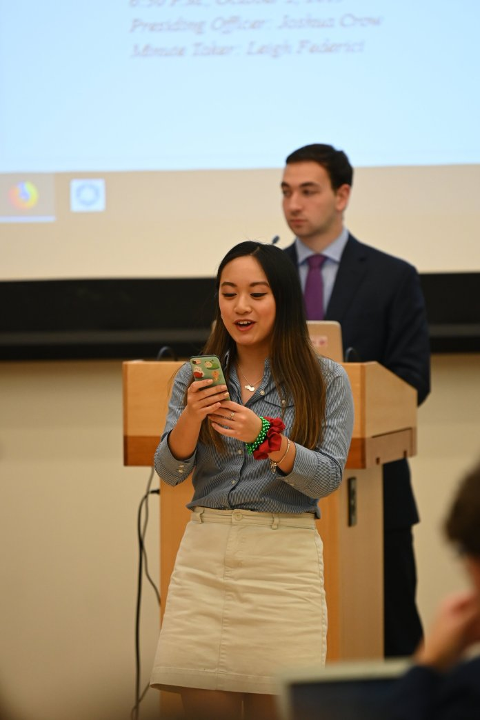 The Undergraduate Student Government hold their first senator's meeting after the election of the new Senate.  Photo by Eric Wang