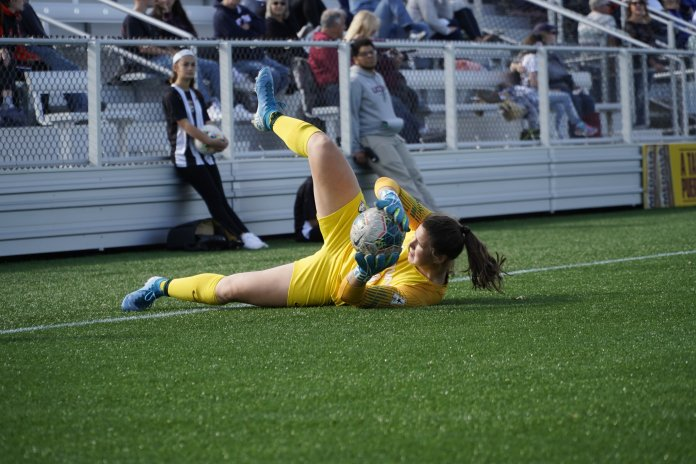 Randi Palacios had another strong performance, racking up nine saves in the loss to USF, one shy of her career-high.  Photo by Eric Wang / The Daily Campus.