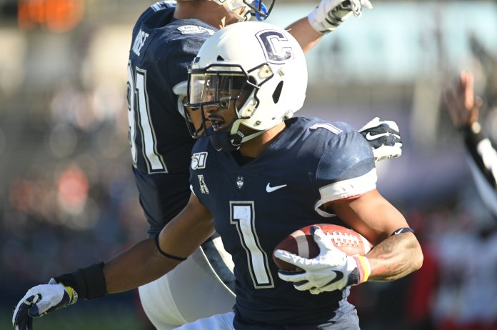 The Huskies lost to the Cougars 17-24 on Saturday after two touchdowns by Matt Drayton (88) and Art Thompkins (1). Their next home game will be on 11/1 playing against the United States Naval Academy.  Photo by Eric Wang/The Daily Campus