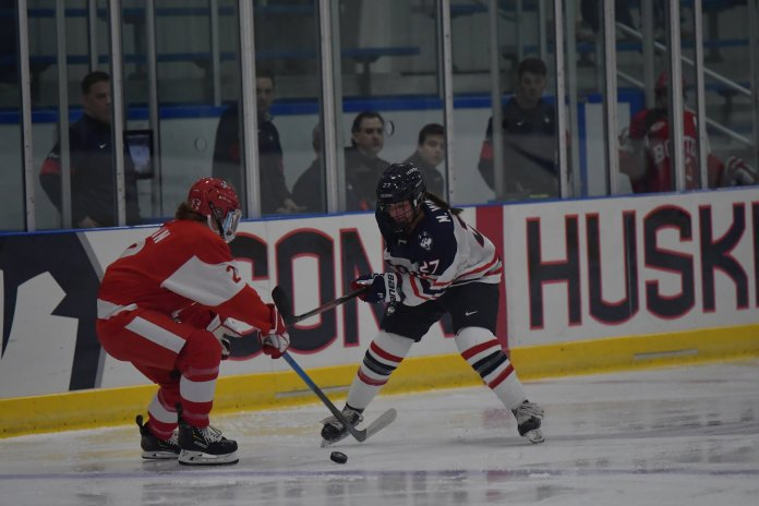UConn Women's Hockey loses to the Boston University Terriers 0-1 Friday night in the Mark Edward Freitas Ice Forum. UConn played an intense game, and despite having competitive offense who shot more than the Terriers, they were unable to find the net.  Photo by Kevin Lindstrom/The Daily Campus