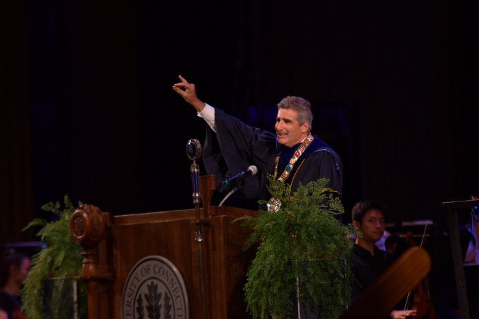 Lower-income Connecticut residents admitted to UConn as undergraduates will receive free tuition starting with the fall 2020 entering class, President Thomas C. Katsouleas announced Friday as he was inaugurated as UConn's 16th president.  Photo by Kevin Lindstrom/The Daily Campus