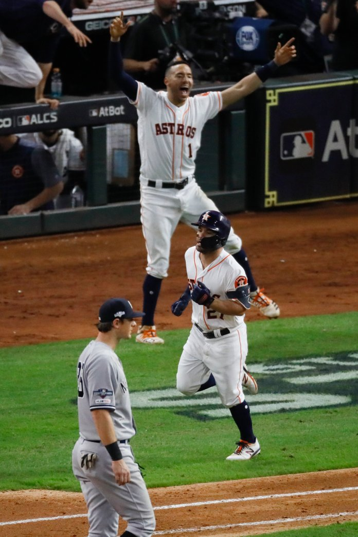 Jose Altuve hit a two-run walkoff homer to send the Astros to their second World Series in three years.  Photo from the Associated Press.