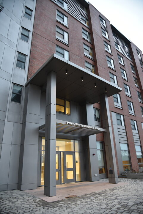 In Dec. 2017, Peter J. Werth donated $22.5 million to the university, the second largest single donation in the school's history. In his honor, the NextGen building, already designated as a new hub of development at UConn, was renamed the Peter J. Werth Residence Tower.  Photo by Eric Wang / The Daily Campus