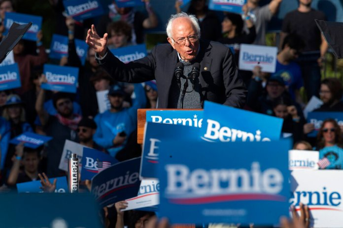 Democratic presidential candidate Sen. Bernie Sanders, I-Vt., speaks during a campaign rally, Saturday, Oct. 19, 2019, in the Queens borough of New York.  Photo courtesy of AP Photo/Mary Altaffer.