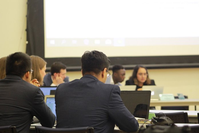 One of the first USG Senate meetings of the year begins with discussion over the editing of certain bylaws and procedures within the organization. Newly appointed staff members introduce themselves.  Photo by Matthew Pickett / The Daily Campus.