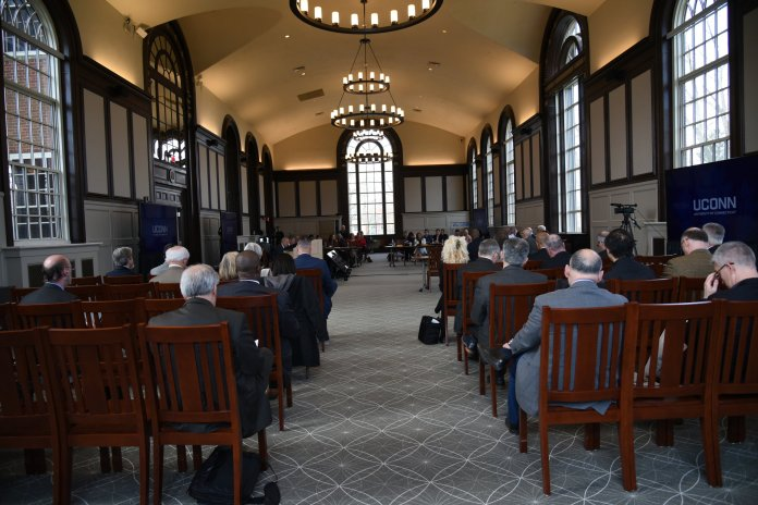 Board of Trustees meets at Wilbur Cross Reading Room on Wednesday morning.  Photo by Charlotte Lao / The Daily Campus.