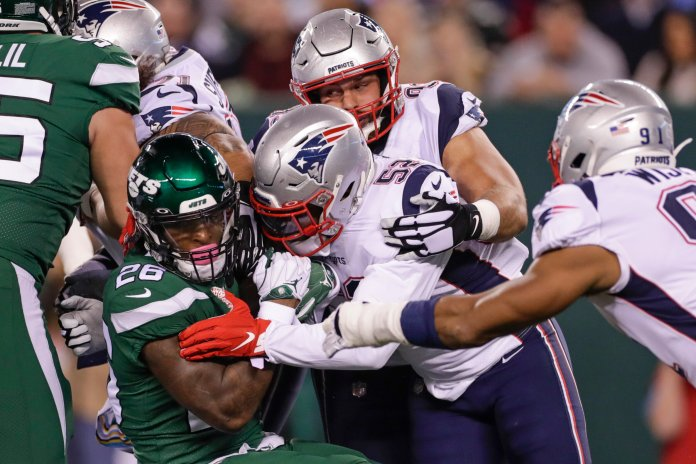 New England has one of the deepest defenses in the NFL that has allowed impressive production to come from many players.  Photo from the Associated Press.