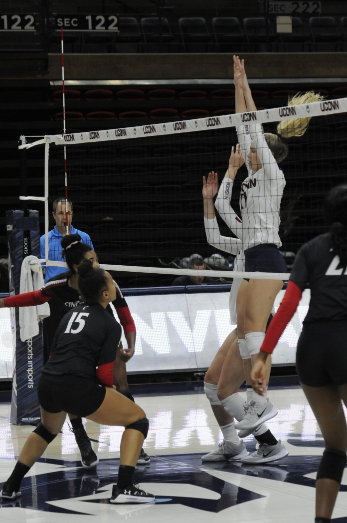 The UConn women's volleyball team has lost five straight games, but with a matchup against Wichita State on Friday, are hopeful to turn that streak around.  Photo by Kourtney Drew / The Daily Campus.