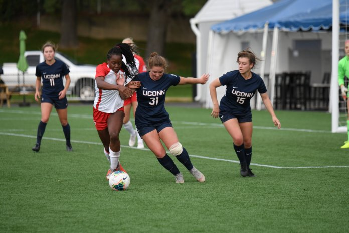 Redshirt sophomore Rachel Marchini struggled mightily to find a place within the women's soccer program at UConn, but after spending time to find herself she is comfortable again and providing important minutes to the Huskies' team.  Photo Eric Wang / The Daily Campus