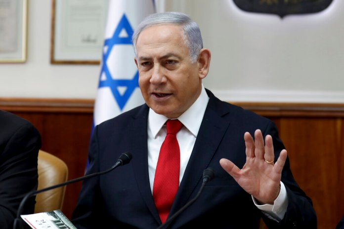 Israeli Prime Minister Benjamin Netanyahu chairs the weekly cabinet meeting at his office in Jerusalem, Sunday, Oct. 27, 2019.  Photo by Gali Tibbon/AP