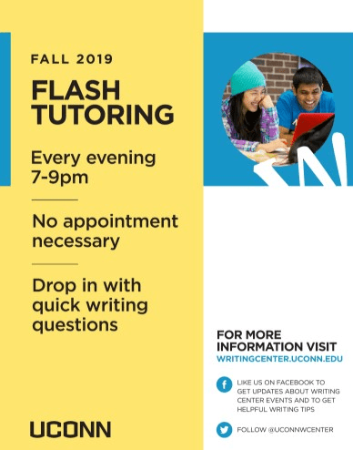 """The Writing Center released a new """"flash tutoring"""" program at the beginning of the fall 2019 semester, allowing undergraduates to drop in and meet with a tutor between Sunday and Thursday from 7 to 9 p.m.  Photos courtesy of the University of Connecticut Writing Center"""