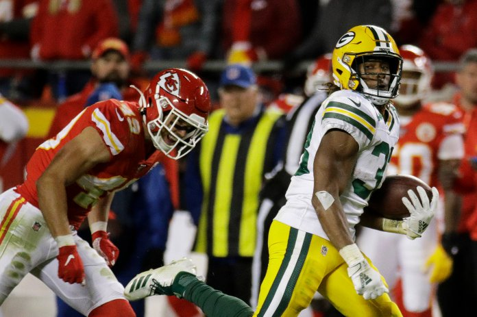 Last time out Jones racked up an incredible 226 yards from scrimmage along with two touchdowns against the Chiefs.  Photo from the Associated Press.