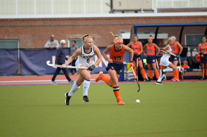 The UConn Field Hockey team takes their third loss of the season during an intense game against Syracuse University on Sunday, Oct. 20. After going into two overtime periods with a tying score of 0-0, Syracuse won in a penalty shoot out.  Photo by Maggie Chafouleas/The Daily Campus