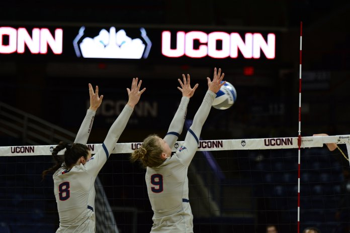 The UConn women's volleyball team takes on Boston College at Gamble Pavilion on September 6, 2019. The match went to 5 sets, with Boston College taking the 3-2 win.  Photo by Judah Shingleton/The Daily Campus