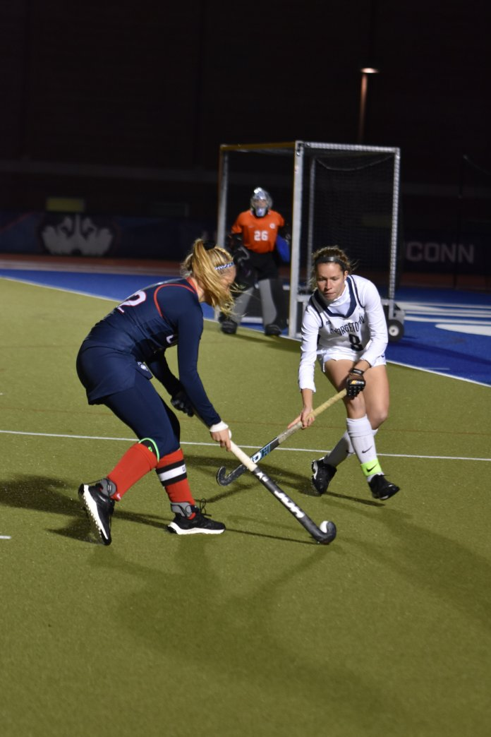 The UConn Field Hockey team shutout Georgetown 5-0 this past Friday night at the George J. Sherman Family Sports Complex, securing their No. 1 seed spot in the Big East Championship next weekend. The Huskies win made them the Big East regular season champions for the seventh season in a row, and will be facing Providence at 11 a.m. this Friday at Quinnipiac.  Photo by Sofia Sawchuk/The Daily Campus