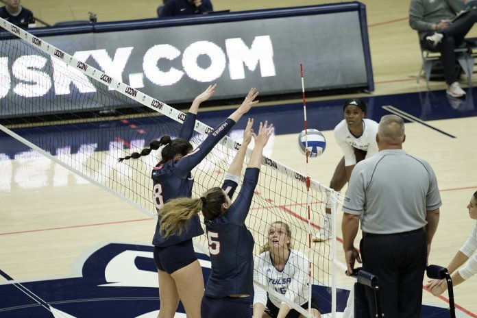 UConn won against Tulsa today with a final score of 3-1. The UConn dominated the last 3 sets with nearly 4 times more blocks than Tulsa. Their next home game is on 11/8 playing against Temple University.  Photo by Eric Wang/The Daily Campus