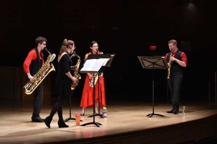 UConn's Saxophone Quartet performed at von der Mehden Recital Hall drawing one it's biggest crowds in years.  Photos by Mike McClellan / The Daily Campus