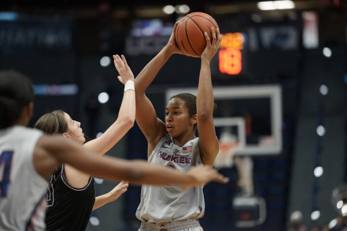 UConn will take off the training wheels with this season's first regular season game Sunday against California. Playing defense on the perimeter will likely be UConn's weakest area this season.  Photos by Eric Wang / The Daily Campus