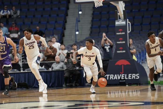 Alterique Gilbert and Christian Vital will be leading the way for this Huskies' team, hopefully providing a consistency they have lacked for the past few seasons.  Photo by Eric Wang / The Daily Campus.