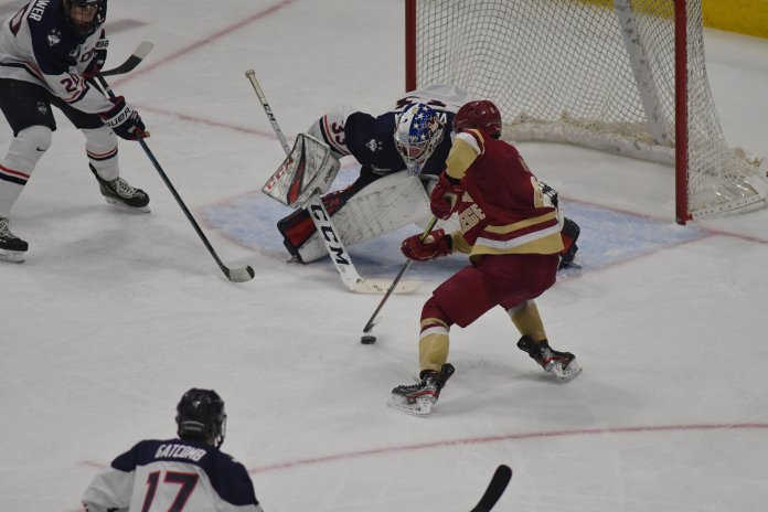 UConn loses 1-5 to Boston College Saturday afternoon in the XL Center. UConn struggled to capitalize on power plays. In addition, UConn only took 17 shots compared to Boston's 46. However, UConn was fortunately able to find the net after being shutout in the first game of the set that was held in Massachusetts.  Photo by Kevin Lindstrom/The Daily Campus