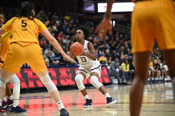 To start their season, the UConn Women's basketball team defeats California on Sunday, Nov. 10, 2019 at Gampel Pavillion. Christyn Williams leads the team with 24 points.  Photo by Charlotte Lao/The Daily Campus
