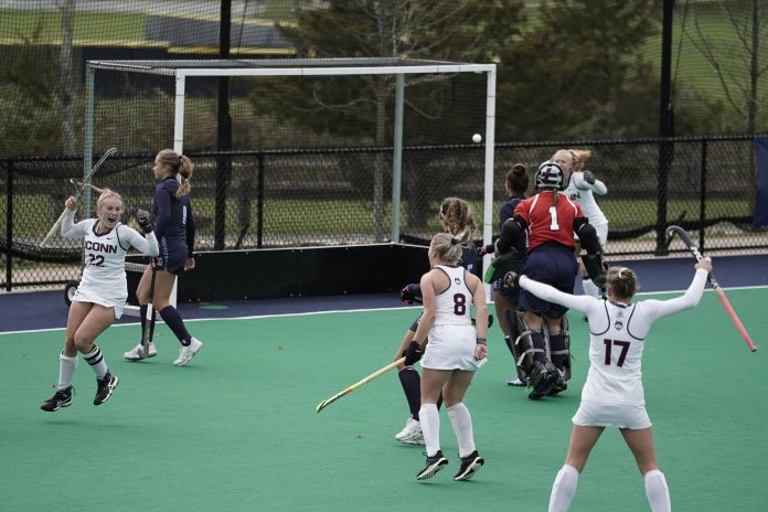 The Huskies won against Old Dominion on Sunday in the Big East Tournament. Svea Boker (22) scored both goals back-to-back in the 3rd quarter. The team will be playing in the NCAA tournament in the coming week.  Photo by Eric Wang/The Daily Campus
