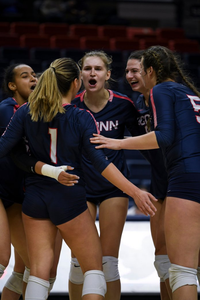 The UConn's women's volleyball team takes on the UCF Knights in its final match of the 2019 season at Gampel Pavilion on Nov 16, 2019. The Match resulted in a 3-1 win for UCF.  Photo by Judah Shingleton/The Daily Campus