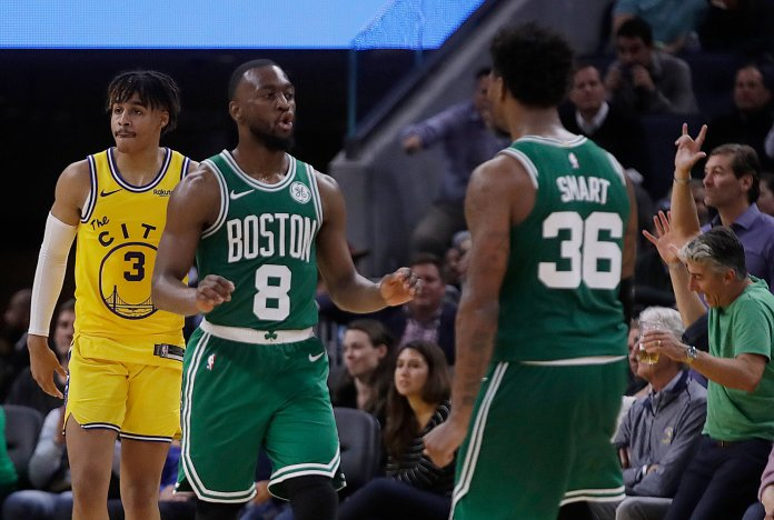 The Celtics are off to a blazing hot start this season and currently sit atop the Eastern Conference standings at 10-2. Kemba Walker has played a major part in the team's hot beginning to the year.  Photo from the Associated Press.