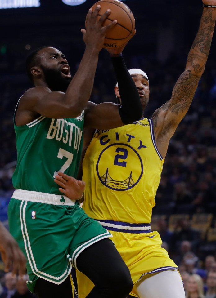 Jaylen Brown has been playing like he is worth the money the Celtics dished out to him this year, putting up career-highs in points and rebounds so far.  Photo from the Associated Press.