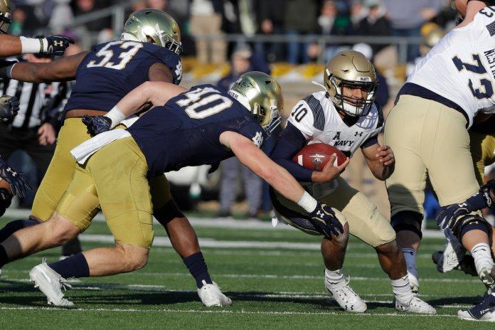 No. 23 Navy fell to No. 16 Notre Dame this weekend in blowout fashion. The 38-0 lead was insurmountable for Navy, who dropped to 7-2 on the year.  Photo from the Associated Press.