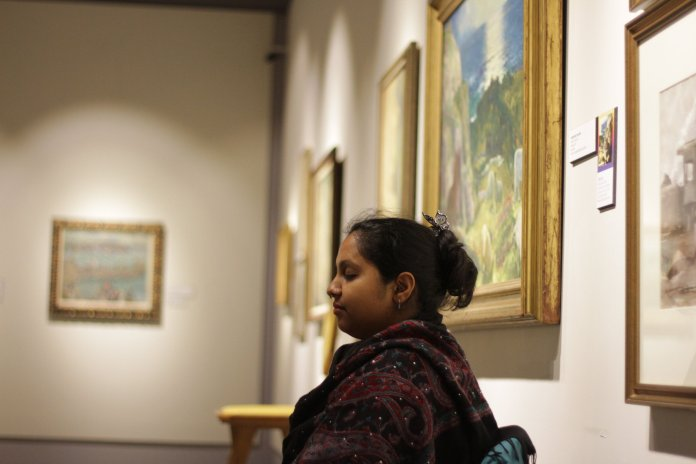 The Benton Museum open its galleries for Student Health and Wellness's Meditation Monday. The program allows students and community members a space to practice mindfulness.  Photo by Matt Pickett/The Daily Campus