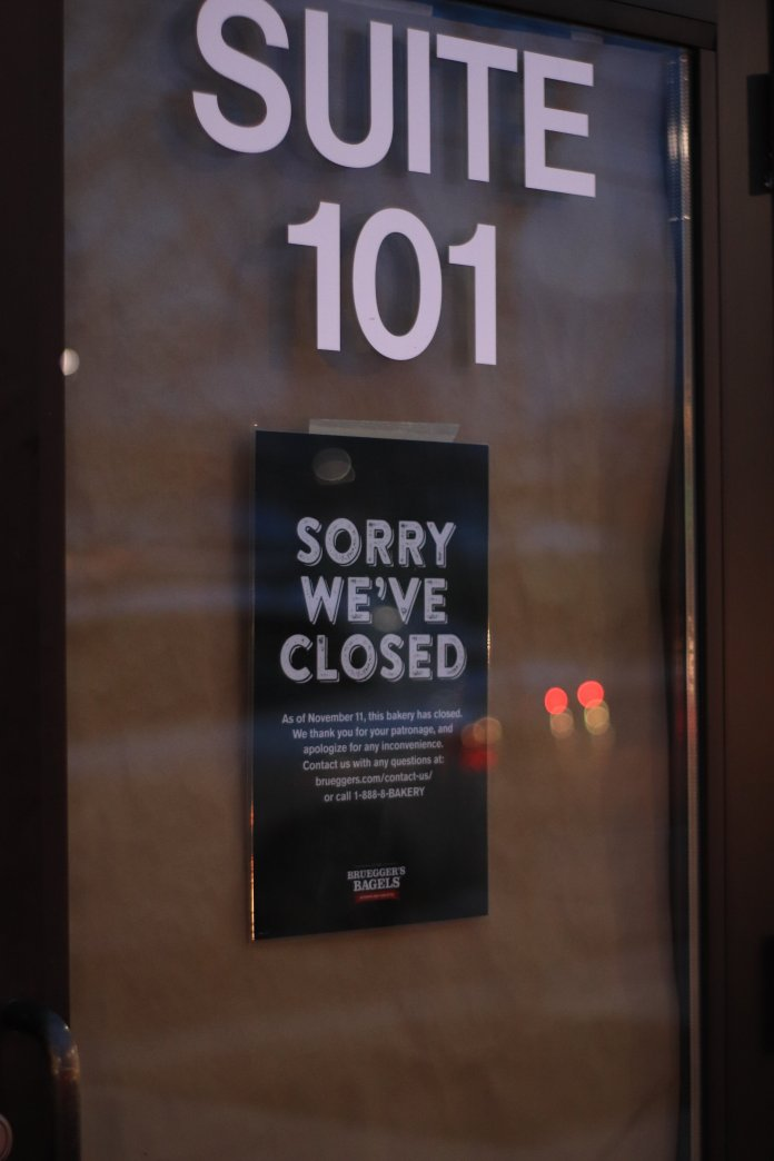 On Monday, Nov. 11, 2019, Bruegger's Bagles and Jamba Juice closed their doors permanently. Customers were surprised to find that the two stores were no longer in business.  Photo by Erin Knapp / The Daily Campus